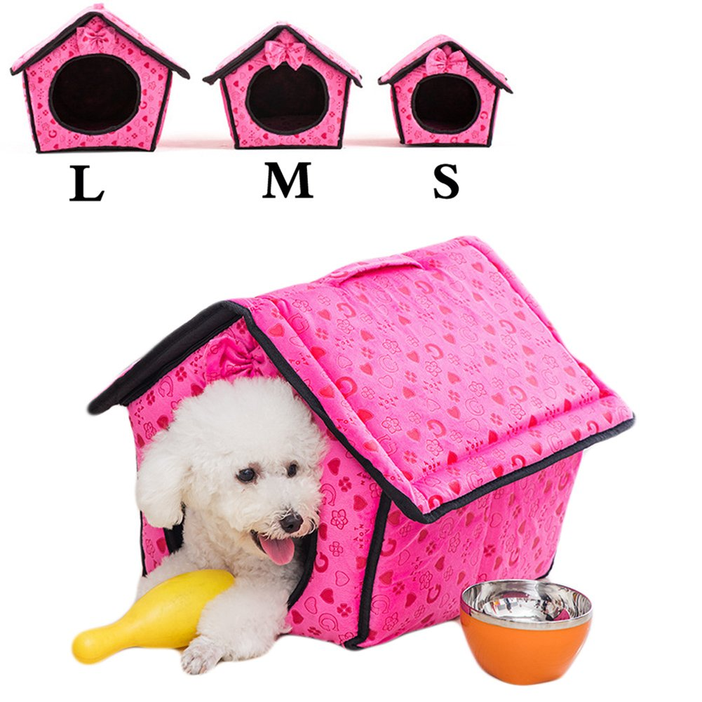 Saymequeen Lovely Heart-shaped Pattern Indoor Dog House Cat Cave Bed Puppy Kitten Play Room Bed Pet Cave (L:34x38x34cm/13.3x14.9x13.3 inch, rose red)