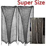 """2 PCS ZHIHU Super Size 180""""-300"""" Creepy Halloween Creepy gray black purple white Cloth for Halloween Party Supplies & Decorations (300inch, gray)"""