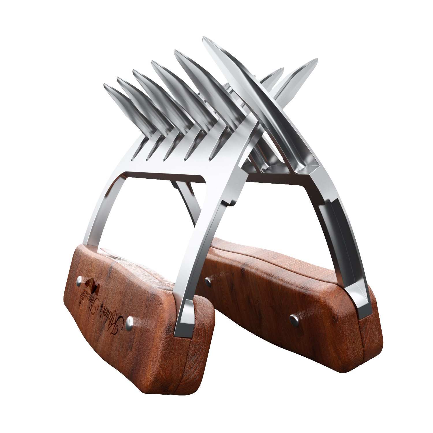 Metal meat claws - Stainless steel- BBQ chicken,Pork Pullers Paws with durable wooden handles - Meat Shredding Forks and Hooks for Lifting, Handling, Shred Roasts and Briskets (2PCS)