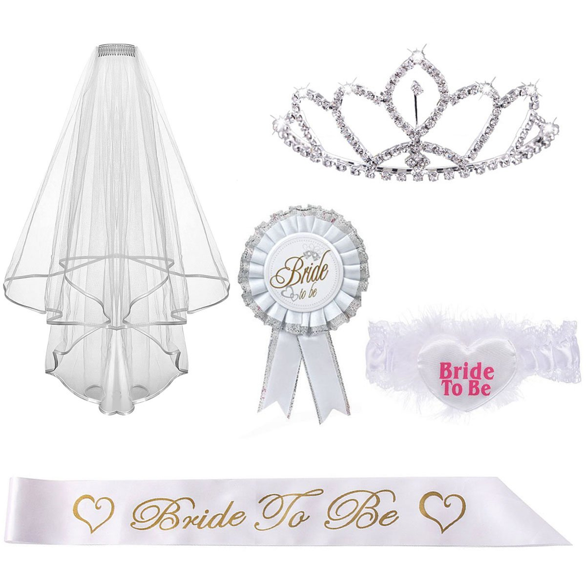 Kyerivs Bride to be Decoration Set for Hen Night Party, Rhinestone Tiara, Bridal Wedding Veil, Bride To Be Sash, Rosette Badge and Garter Bride to be Set