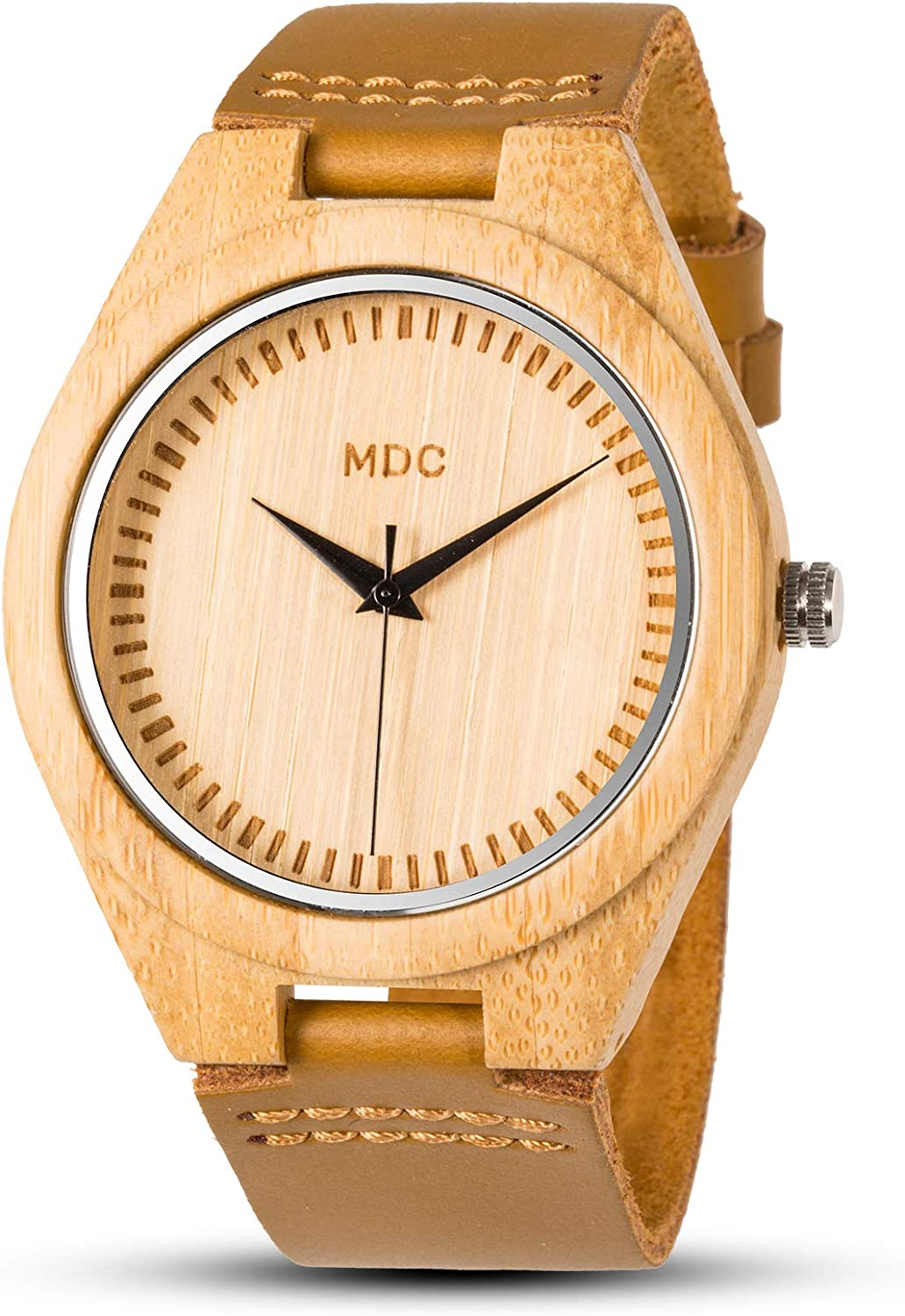 MDC Bamboo Wooden Watch Minimalist Light Weight Casual Genuine Leather Band