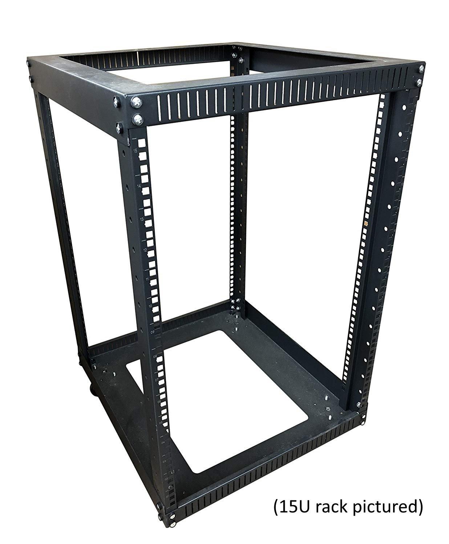Kenuco 20U Standing Open Frame Rack with 4 Wheels and 4 Legs - Steel Network Equipment Rack 17.75 Inch Deep