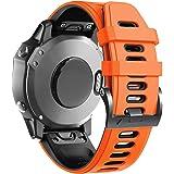 ANCOOL Compatível com pulseiras de relógio macias Fenix 6X Pulseiras de substituição para relógios esportivos Fenix 6X Pro/Fe