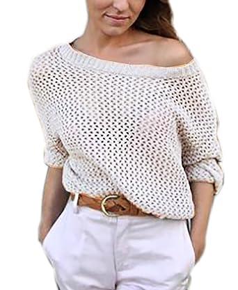 Mikos Modischer Oversize Pulli Pullover Strick Tunika Sexy Schulterfrei  Damen Pullover Pulli Lose Jumper S M (516) (Beige)  Amazon.de  Bekleidung 77d7de6e0d