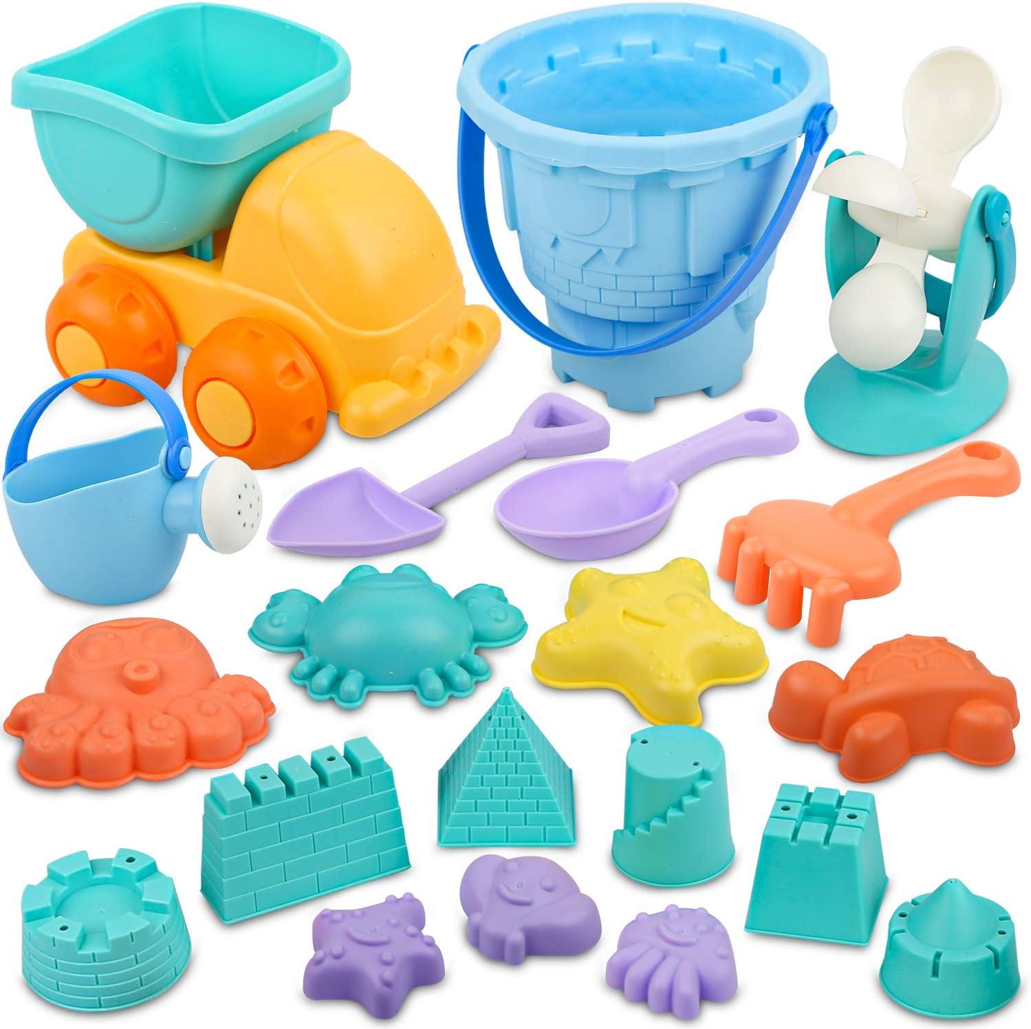 Dreamon Conjunto de Juguetes Playa Bebe Colores Moldes de Arena con Bolsa para Niños 3 Años, 20 Piezas