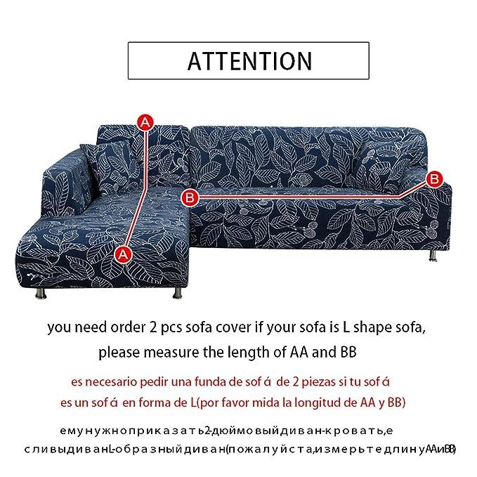 Amazon.com: Fairy music L Shaped Sofa Cover Elastic Blue ...