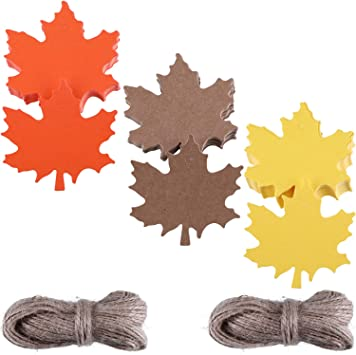 Kraft Paper Tags Maple Leaves Gift Tags Name Tags Leaf nuosen 120 Pcs Gift Tags