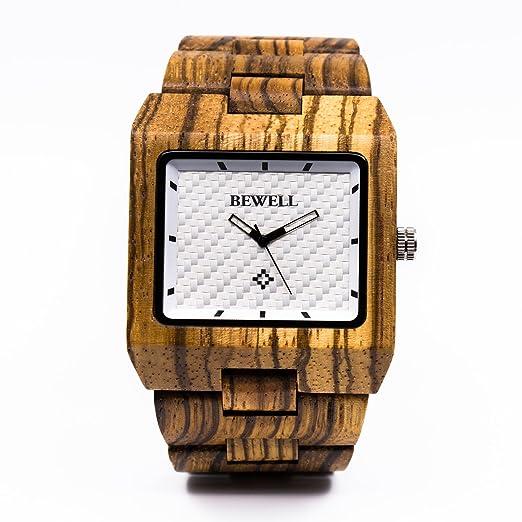 7dfb02ddd858 Reloj de hombre rectangular de madera ajustable correas relojes de cuarzo  pulsera reloj japón  Amazon.es  Relojes