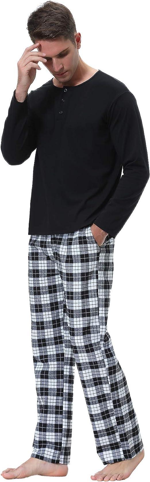 Cl/ásico 2 Piezas Ropa de Casa Invierno per Hogar Casual Aibrou 100/% Algod/ón Pijama Hombre Conjunto de Pijama Mangas Largas Top de Rayas con Cuello Redondo y Pantalones Largos con Bolsillo