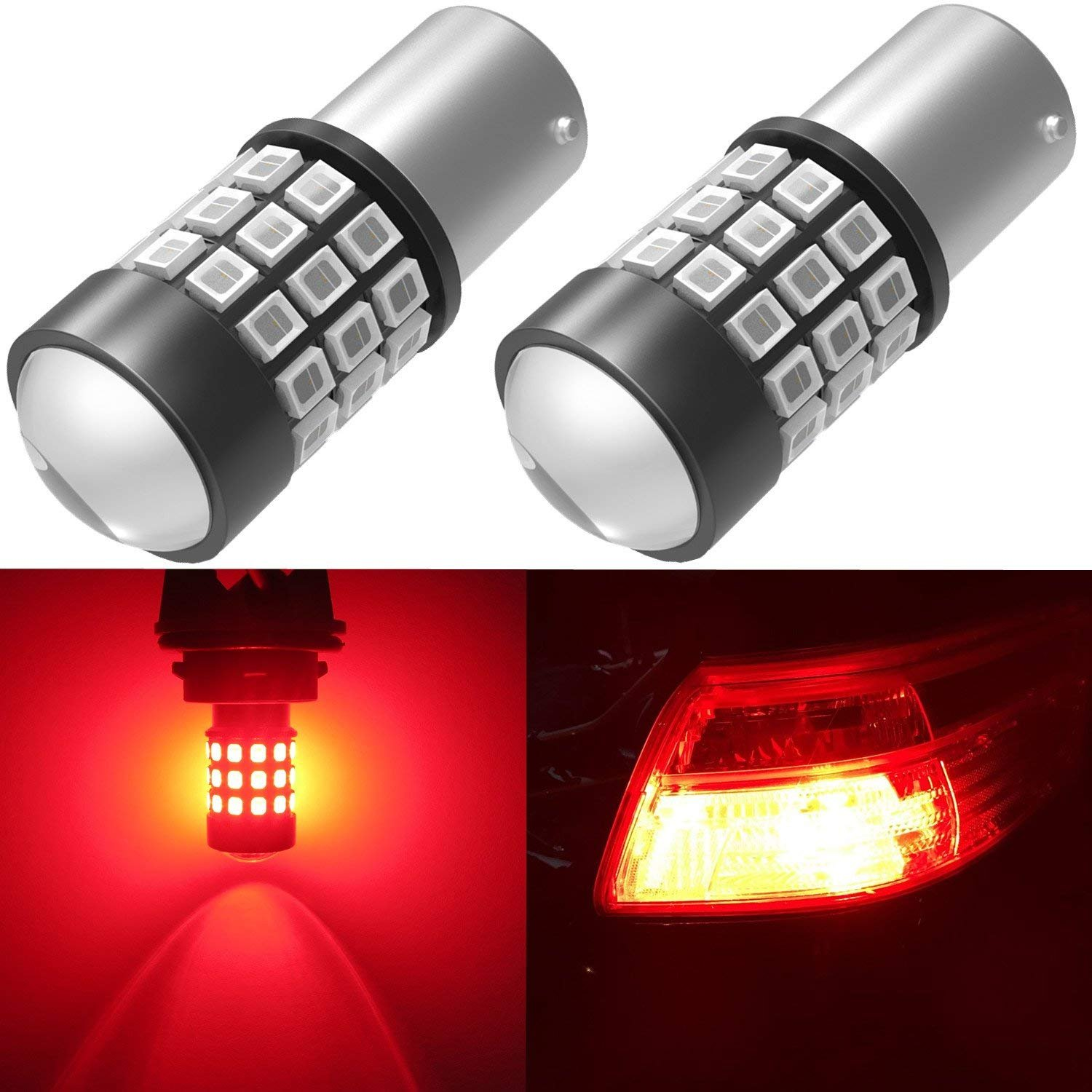 Alla Lighting BAY15D 7528 1157 LED Strobe Brake Lights Bulbs Super Bright 2357 2057 1157 Flashing Strobe LED Bulbs High Power 1157 Strobe Brake Stop Light Bulbs, Brilliant Pure Red (Set of 2)