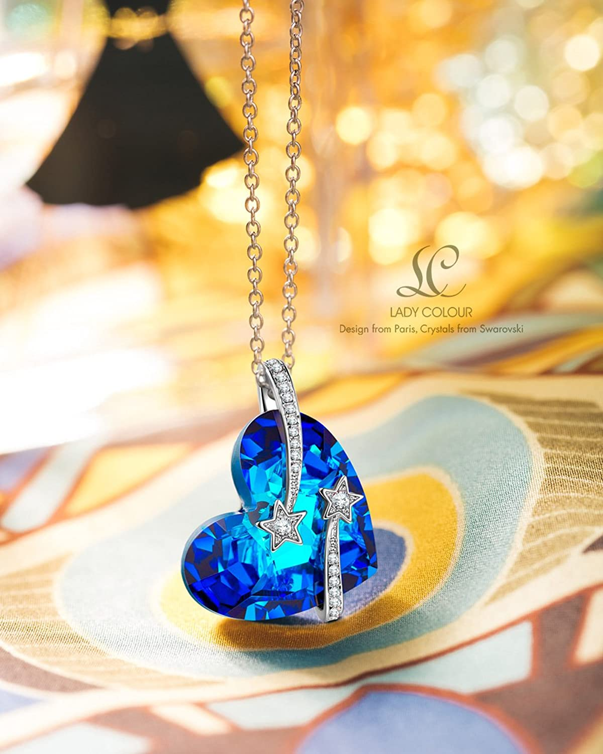 LADY COLOUR love you to the moon and back Pendant Necklace for Women with Blue Heart Crystals from SWAROVSKI® m2bzqo