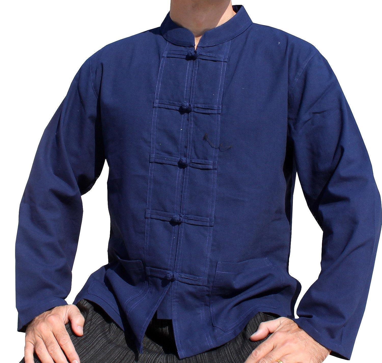 Raan Pah Muang Light Summer Cotton China Collar Asian Long Sleeve Shirt Frog Button