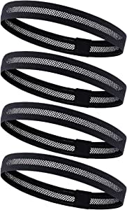 Dreamlover 4 Pack Sports Headband, Women's Yoga Hairband, Men's Sweatband for Running, Travel and Fitness, Cutout Non Slip Elastic Sports Headband with Silicone Strips