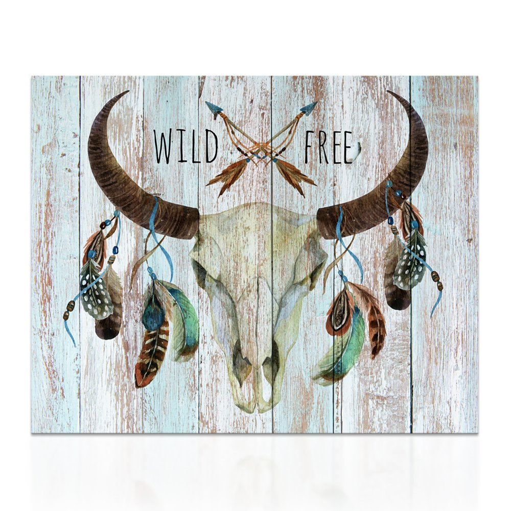 "Visual Art Decor Large Bull Skull Wildlife Free Animals Framed Poster PrintsCreative Canvas Prints Wall Decor Dual View Picture on Wood Background Canvas Prints Wall Art Decor (24""x32"", Wildfree)"