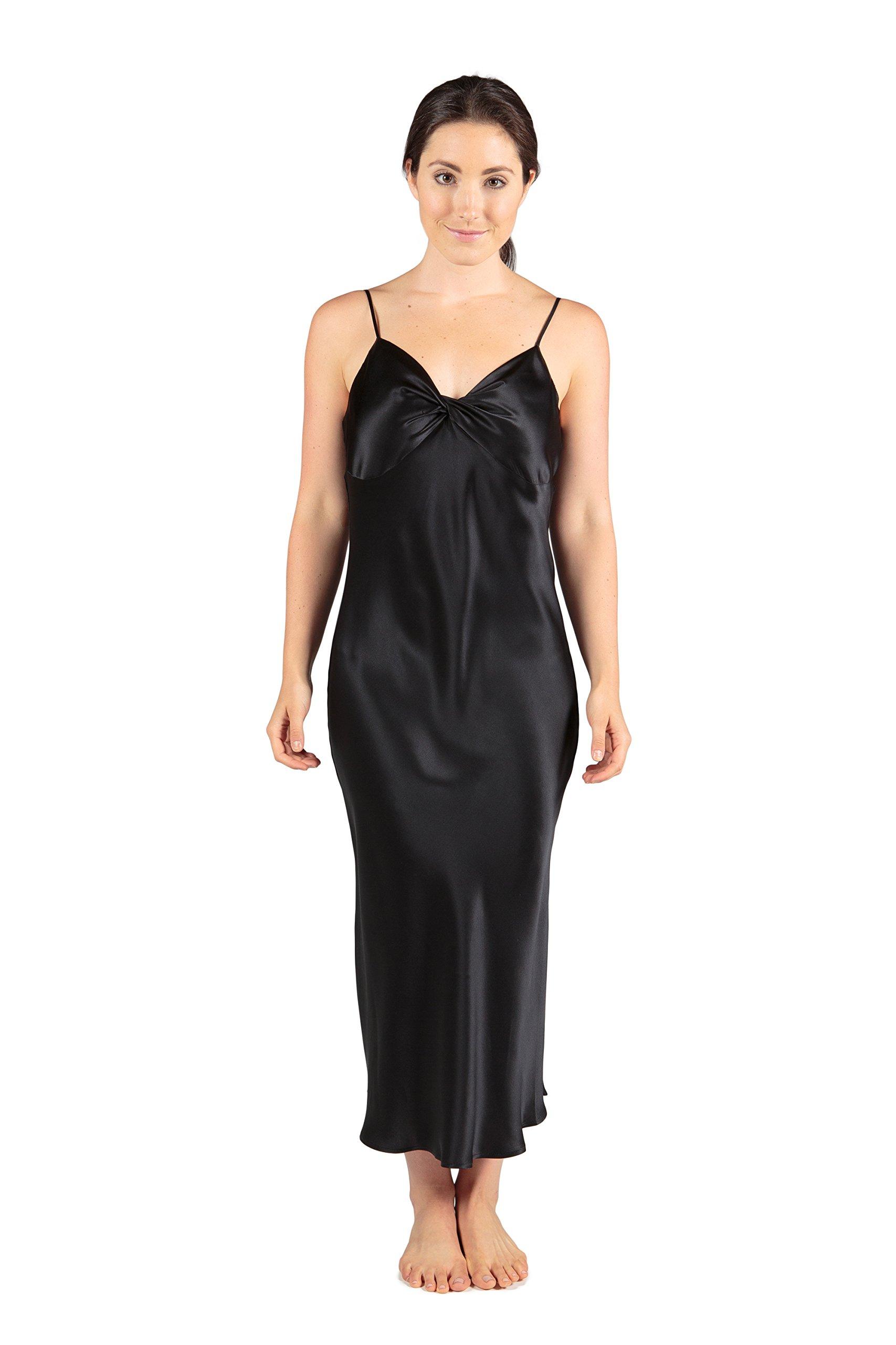 TexereSilk Women's Long Silk Nightgown (Black, Medium) Best Gifts for Her WS0401-BLK-M