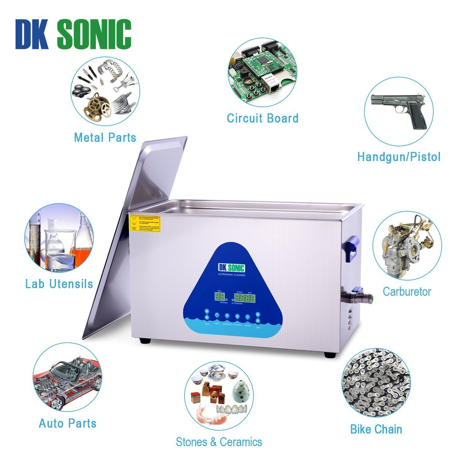 Lab Digital Ultrasonic Carburetor Cleaner Heated - DK SONIC 22L 480W Ultrasonic Gun Cleaner for Parts Jewelry Brass Eyeglass Ring Fuel Injector Glasses Record Diamond Circuit Board 28/40KHz by DK SONIC (Image #6)