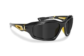 Windschutz Sportbrillen Radbrille für Skifahren Laufen Wassersport Running Golf Motorrad by Bertoni Italy - FT1000C (Mat Black / Bikers Yellow) 32PCEk
