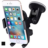 ANCOOLE Car Mount Phone Holder Cradle for Windshield 360 Degrees Rotation Freely Adjustable for iphone X/8/7/6S/6 Plus Samsung Galaxy S8/S7 edge Universal Phone (Black)
