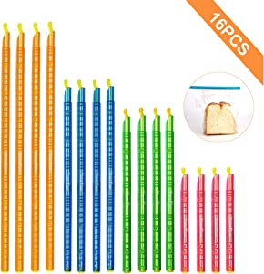 16PCS Bag Sealing Chip Clips Sticks, YourFun Food Fresh Keeping Premium Bag clips,4 Sizes Length Airtight Bag Sealers Sticks Reusable & Eco-Friendly for Kitchen & Pet Food Storage