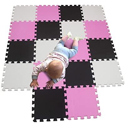 MQIAOHAM Children Puzzle mat Play mat Squares Play mat Tiles Baby mats for Floor Puzzle mat Soft Play mats Girl playmat Carpet Interlocking Foam Floor mats for Baby White Pink Black 101103104: Toys & Games