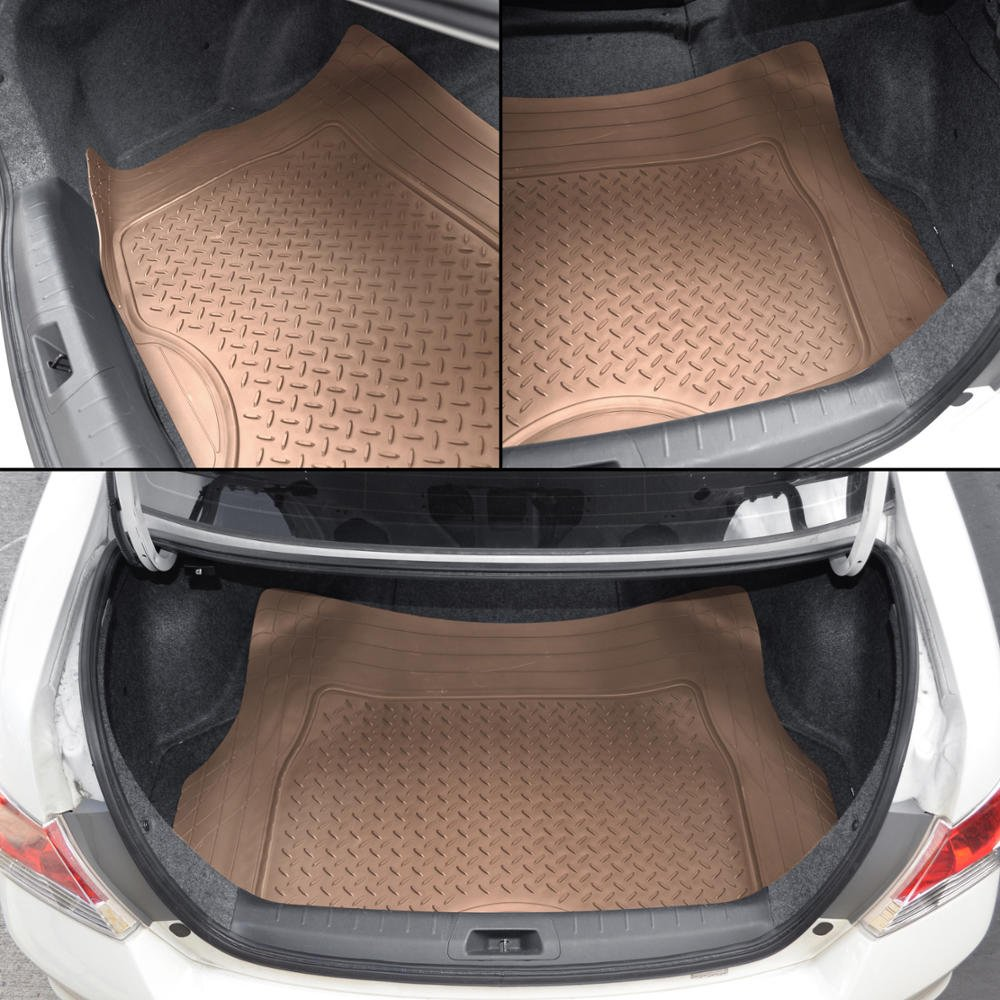 Motor Trend Odorless Gray Heavy Duty SUV 4 Piece Floor Mats Universal Fit 2 Row and Trim to Fit Trunk Cargo Liner