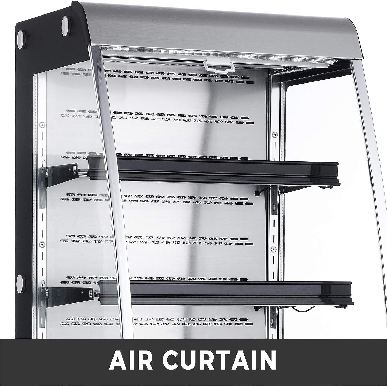 Open Air Merchandiser Stainless Steel Black Display Refrigerator,with LED Lighting,Suit for Shop Supermarket Restaurant,36.5-50℉ 27 Commercial Movable Display Cooler Case VBENLEM 8.8 cu.ft