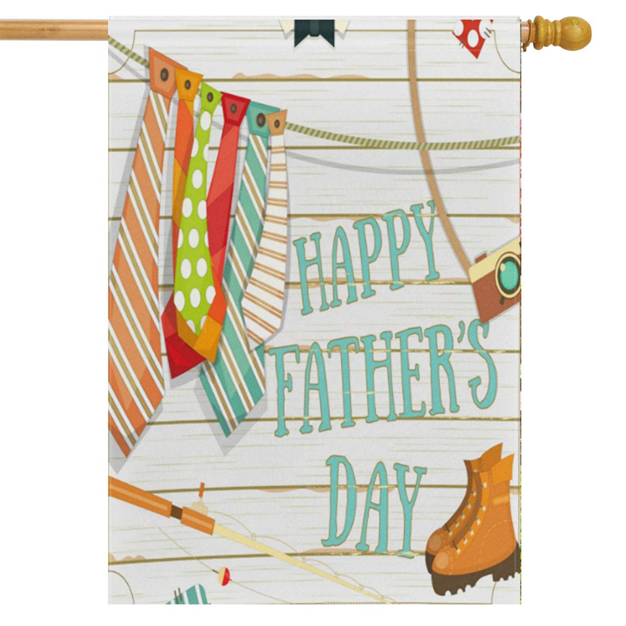 Wamika Happy Father's Day House Flag 28 x 40 Double Sided, Ties Shoes Camera Fishing Rod Garden Yard Flags Love Dad Outdoor Indoor Banner for Party Home Decorations