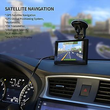 Pantalla LCD de 5 Pulgadas de 8 GB POI FM Multimedia de posicionamiento preciso GPS navegación por satélite (Color: Negro): Amazon.es: Electrónica
