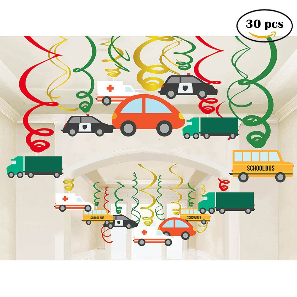 Amazon Jiahai 30Ct Colorful Transportations Cars Trucks Buses Hanging Swirl Home Decorations For Transportation Themed Birthday Party Supplies Toys