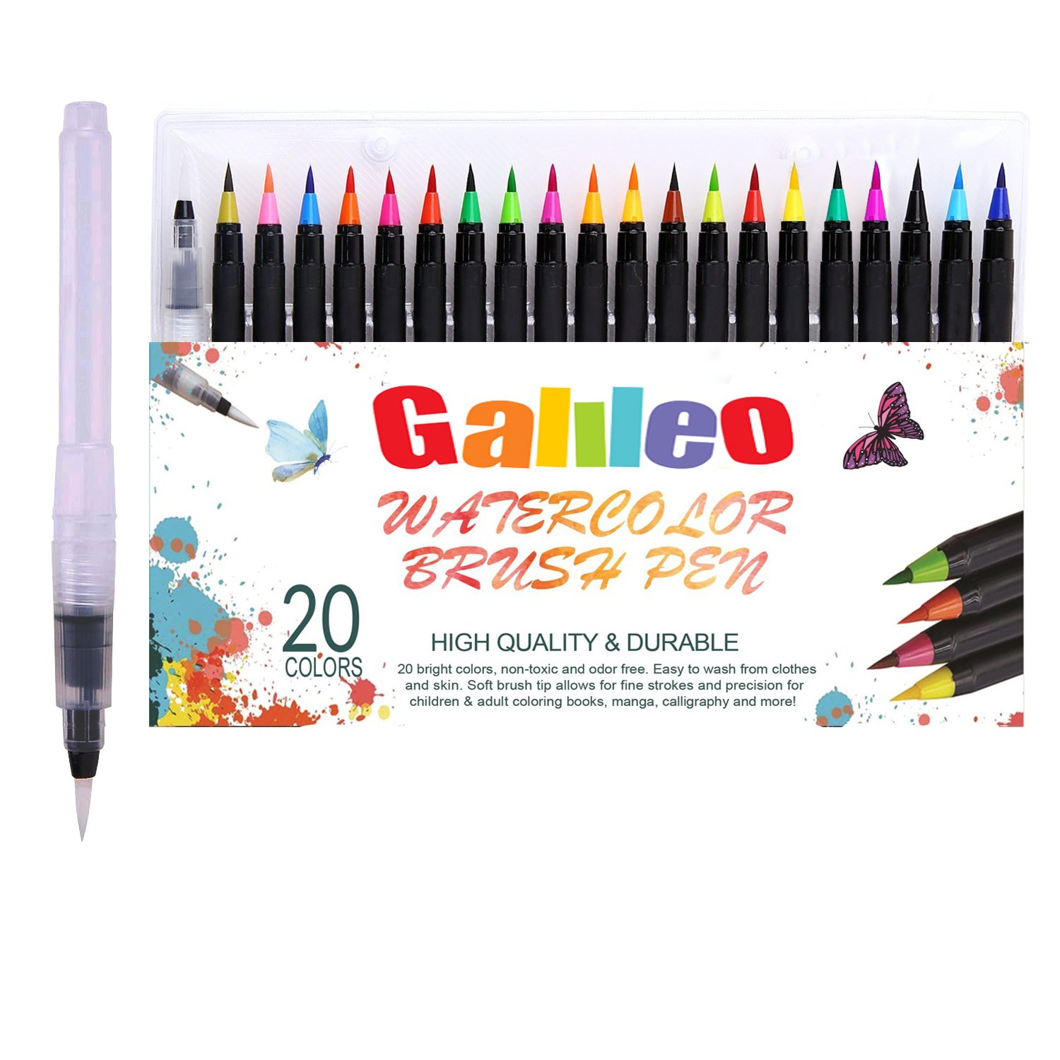 Watercolor Brush Pens Set – Pack of 20 Water-Based Coloring Markers for Kids and Adult with Real Flexible Brush Tips for Drawing, Painting, Manga, Calligraphy –Nontoxic, Washable & Odorless by Galileo Calligraphy –Nontoxic Galileo Toyz