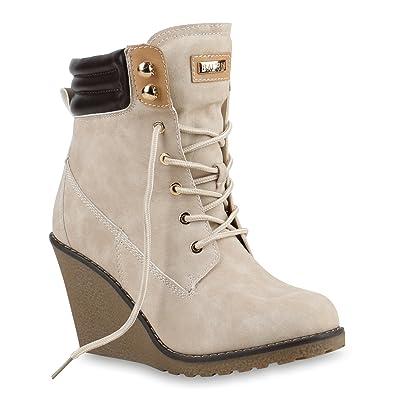 Stiefelparadies Damen Stiefeletten Keilabsatz Boots Profilsohle Schuhe  129054 Creme 36 Flandell 7a16712524
