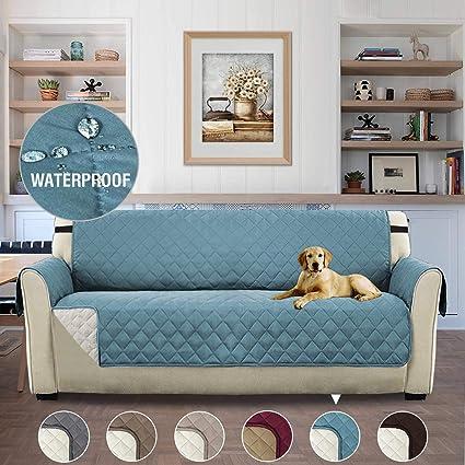 H.Versailtex 3 plazas Cover para Mascotas Doble Cara Anti-Deslizante del Pongis Cubierta Protectora Sof¨¢ Apoyabrazos de Funda, 190cmx167cm - Azul y ...
