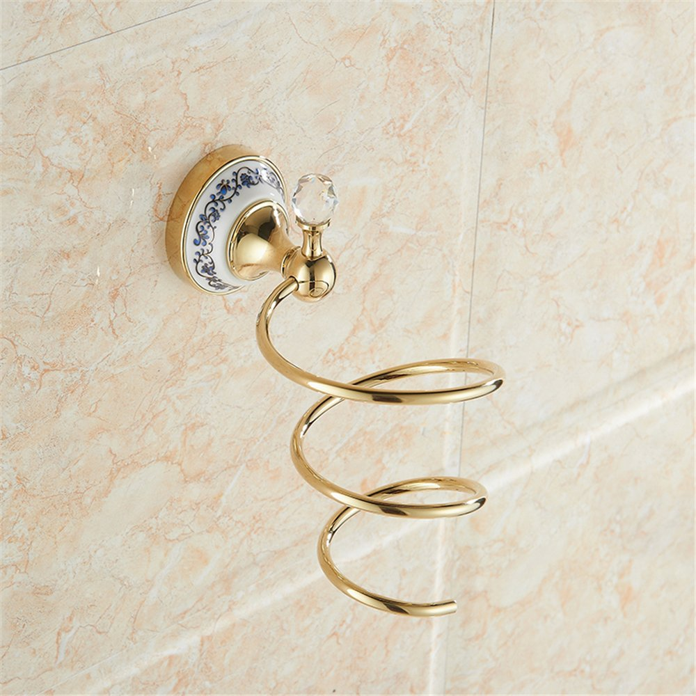 Luxurious Golden Stainless steel + Porcelain + Crystal Shape Bathroom Hand Dryers/hair dryer Holder professional DIY