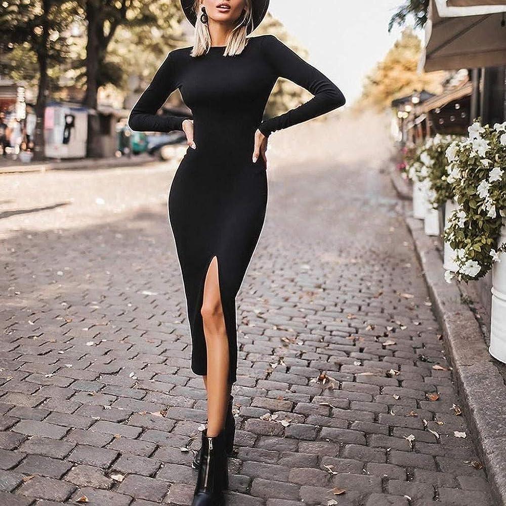 Long Sleeve Elastic Bodycon Dress Pure