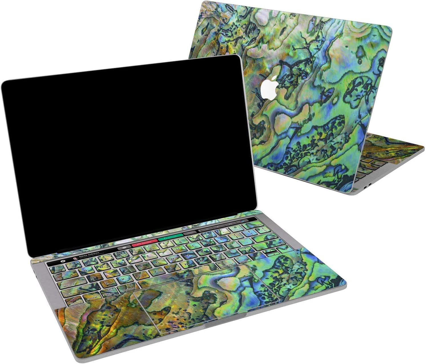 Lex Altern Vinyl Skin for MacBook Air 13 inch Mac Pro 16 15 Retina 12 11 2020 2019 2018 2017 Abalone Nature Pearl Green Abstract Art Iridescent Girl Trackpad Cover Keyboard Decal Sticker Print Wrap