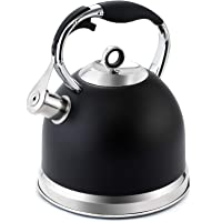 HIHUOS Tea Kettle 3 Quart induction Modern Stainless Steel Surgical Whistling Teapot - Pot For Stove Top (Black)