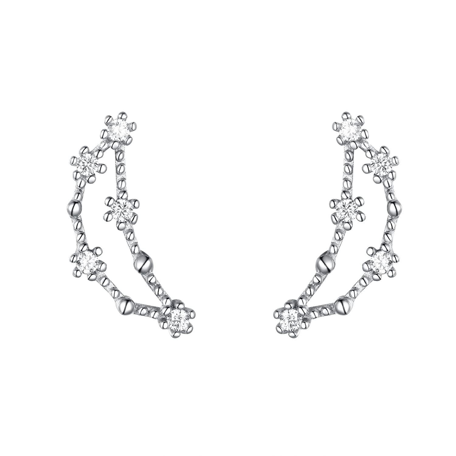 BriLove Women 925 Sterling Silver CZ Horoscope Zodiac 12 Constellation Astrology Ear Vine Crawler Post Earrings 12001976-1ca