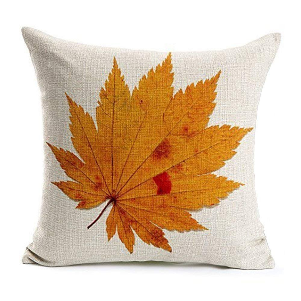 Acelive 20x20 Inches Cotton Linen Maple Leaves Throw Pillow Covers Fall Decor Colorful Maple Leaves Cushion Cover Decor Autumn Leaf Pillow Cases For Home Sofa Bedding Room (4#)