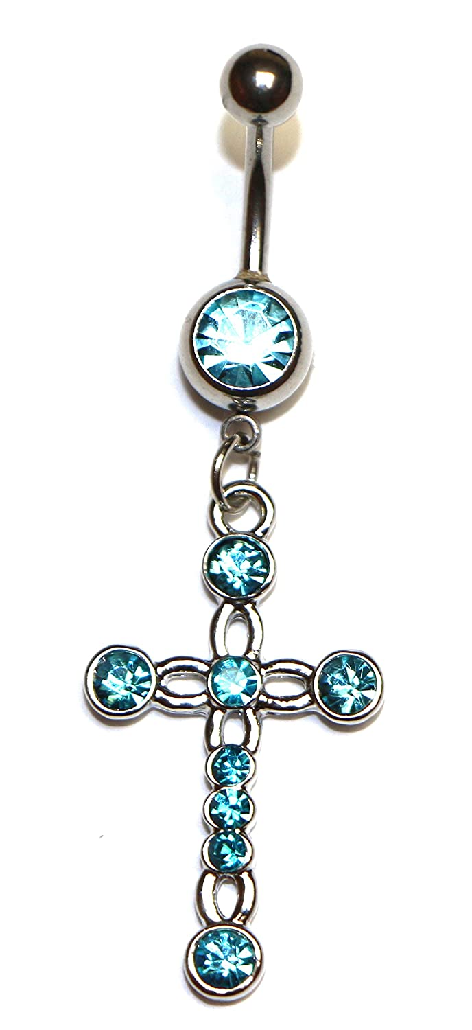 Cross Dangle Hypoallergenic Surgical Steel Rhodium Plated 14G 3/8 Length Bar Belly Button Ring With Cubic Zirconia Jewels Fashion BNR1295AQ
