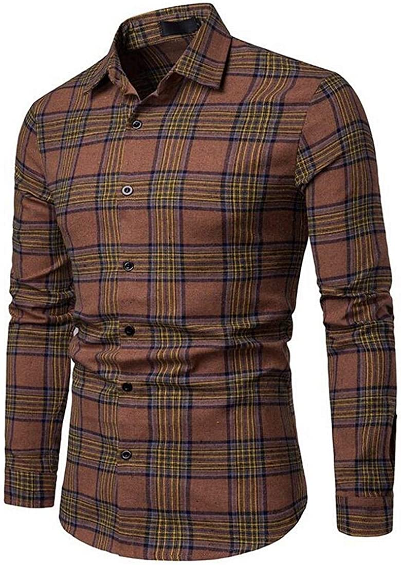 Suncolor8 Men Plaid Long Sleeve Casual Color Block Button Up Flannel Checkered Shirt