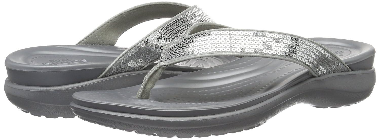 Crocs Womens Capri V Sequin Flip Sandals 204311