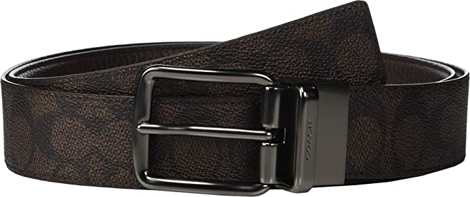 76b3289e COACH Men's Wide Harness Signature Reversible Belt Brown One Size at ...