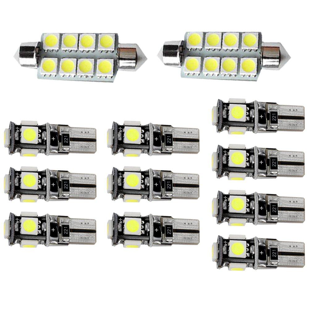 Muchkey Ampoules de Voiture Lampe pour 318 320 320i 325 335 E90 E92 LED Canbus sans Erreur Voiture Lampe D'immatriculation Lumières Lampes Remplacement Blanc 12pcs