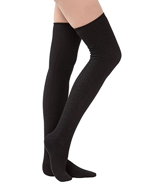 32d49cdb6156 Dimore Womens Knit Cotton Thigh Thick High Socks Over The Knee Long Socks  Boot Cuff Socks Gift Black  Amazon.ca  Luggage   Bags