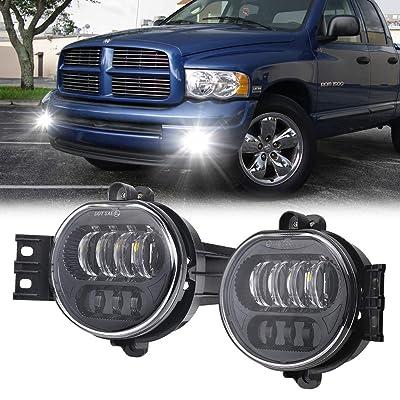 Dodge LED Fog Light for Dodge Ram 1500 2500 3500 Driving light 2003 2004 2005 2006 2007 2008 Black: Automotive