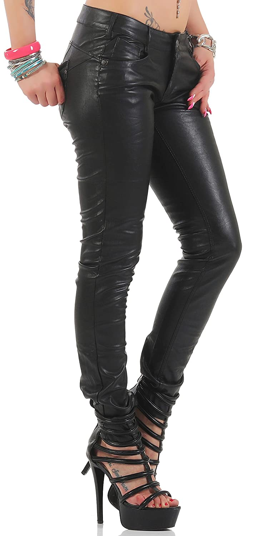 Blue Rags Kunstlederhose Damen schwarz slim fit Print Optik: Amazon.de:  Bekleidung