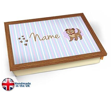 KICO Puppy - Bandeja personalizable con nombre para niños, Wood Effect Frame, 45cm (