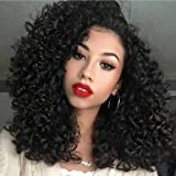 """Synthetic Afro Kinky Curly Wigs for Black Women African American 16"""" Long Black Kinky Curly Hair Heat Resistant Wigs"""