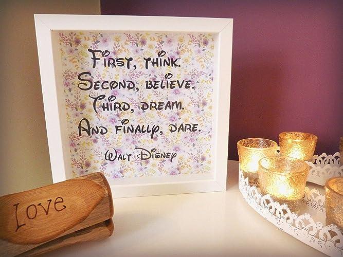 Amazon.com: Handmade Walt Disney Framed Quotation - \'First, think ...