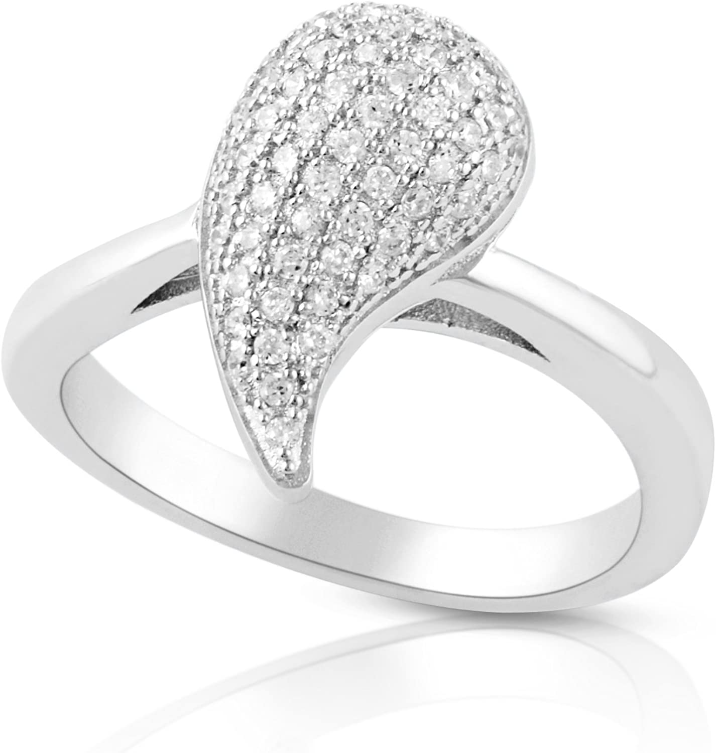 Sterling Silver Cz Swish Ring Size 5-9